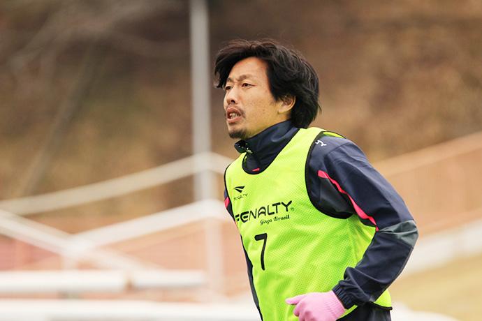 ウォーミングアップ中の米田選手