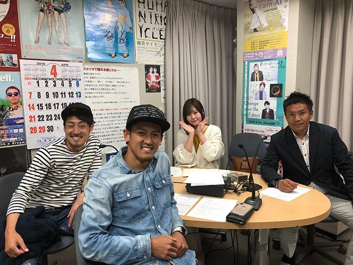 4/4:甲斐杏奈さん、柳田GM、川里光太郎選手、藤岡浩介選手